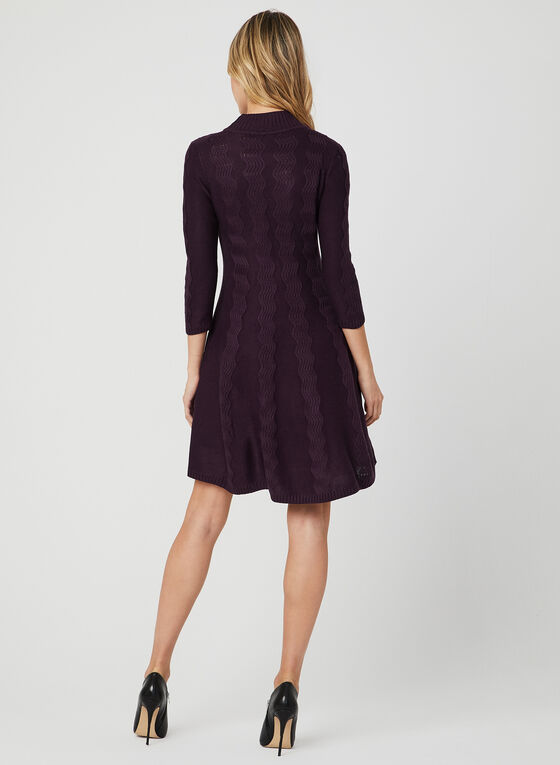 Sandra Darren - Fit & Flare Knit Dress, Purple, hi-res
