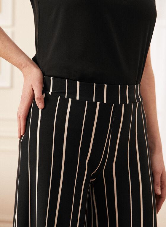 Pantalon gaucho à rayures, Noir