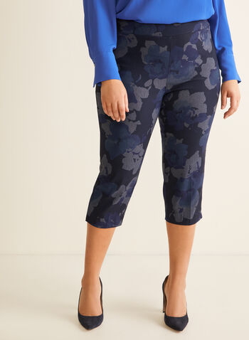 Floral Print Pull-On Capris, Blue,  capris, pull-on, floral print, slim leg, bengaline, spring summer 2020