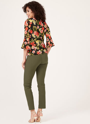 Floral Print ¾ Bell Sleeve Blouse, Green, hi-res