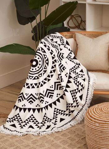 Serviette de plage ronde à motif géométrique , Noir,  printemps été 2021, accessoires, beauté, serviette, plage, rond, franges, frangée, motif, imprimé, géométrique, coton