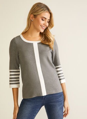 Contrast Striped Pullover , Grey,  fall winter 2020, pullover, sweater, knit, knitwear,