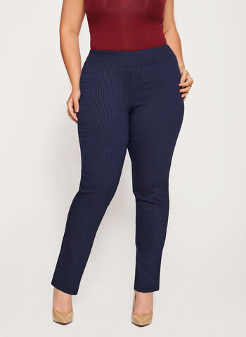 Pull-On Straight Leg Pants, Blue, hi-res