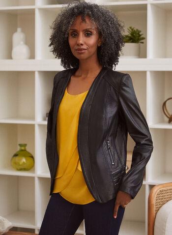 Metallic Detail Faux Suede Jacket, Black,  fall winter 2020, filed, faux suede, zipper, long sleeves, pockets
