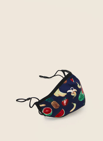 Bright Safe Care - Tutti Frutti Print Mask, Black,  mask, cotton, protective, antibacterial, reusable, washable, adjustable, cotton, breathable, comfortable, spring summer 2020