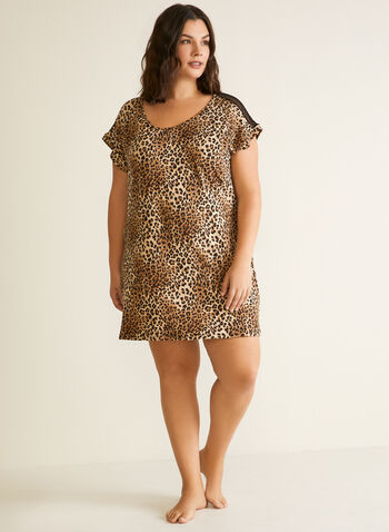 Animal Print Nightgown, Brown,  fall winter 2020, sleepwear, animal print, nightshirt, nightgown, pyjamas, holiday, holidays 2020, lace, short sleeves