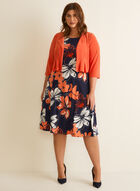 Cardigan & Floral Print Dress, Orange
