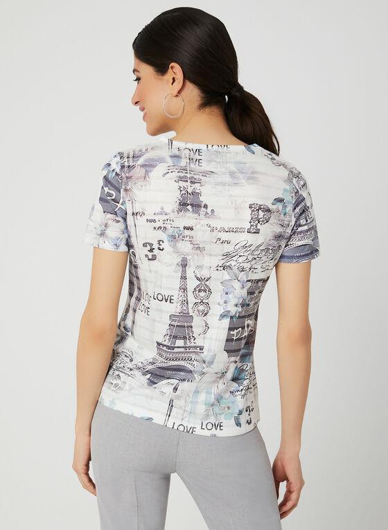 T-shirt motif Paris et strass, Bleu, hi-res