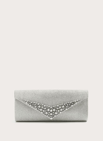 Crystal Trim Crackle Print Clutch, Silver, hi-res