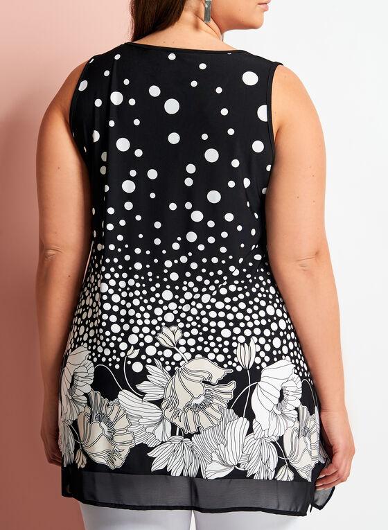Floral Dot Print Sleeveless Top, Black, hi-res