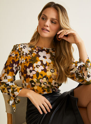 Floral Print Tie Sleeve Blouse, Yellow,  blouse, floral, boat neck, 3/4 tie sleeves, fall winter 2020