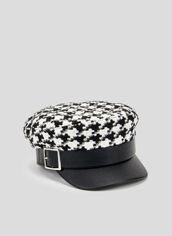 Houndstooth Pageboy Hat, Black, hi-res