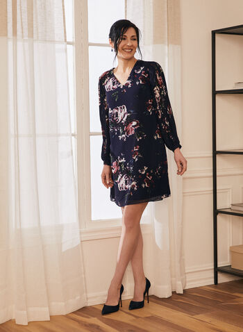Floral Print V-Neck Dress, Blue,  dress, day, floral, balloon sleeves, v-neck, chiffon, pleated, spring summer 2021