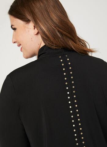 Studded Open Front Cardigan, Black, hi-res