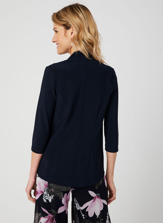 ¾ Sleeve Open Front Top, Blue