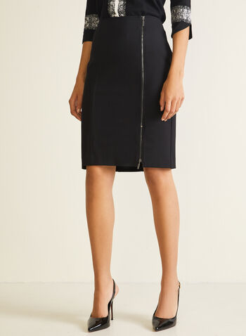Zip Closure Straight Skirt, Black,  skirt, straight, zipper, slit, ponte di roma, fall winter 2020