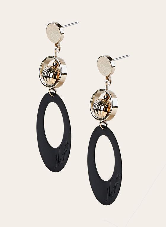 Boucles d'oreilles à pendants géométriques, Noir, hi-res