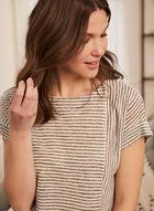T-shirt rayé aspect lin, Vert