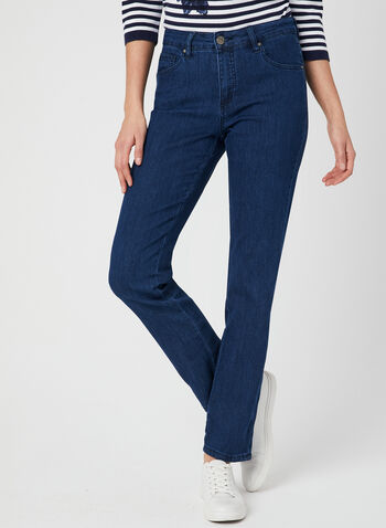 Simon Chang - Signature Fit Straight Leg Jeans, Blue,  denim, embroidery, spring 2019