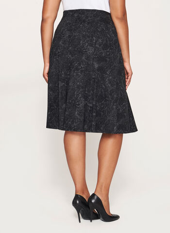 Flared Hem Midi Skirt, Grey, hi-res