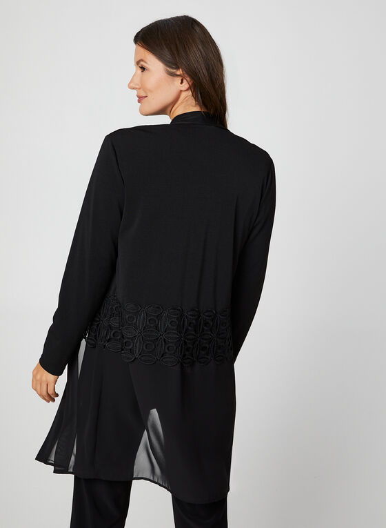 Chiffon Crochet Trim Duster, Black, hi-res