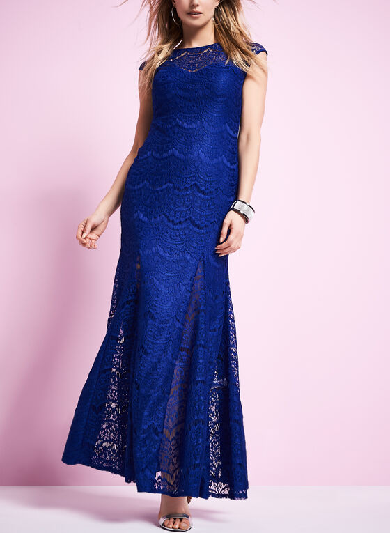 Lace Mermaid Gown , Blue, hi-res
