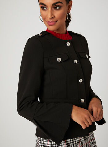 Ruffle Sleeve Crepe Jacket, Black, hi-res