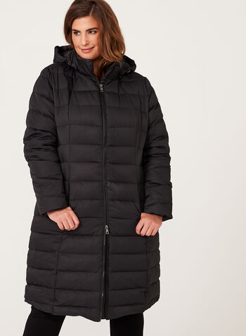 Long Quilted Down Coat, Black, hi-res