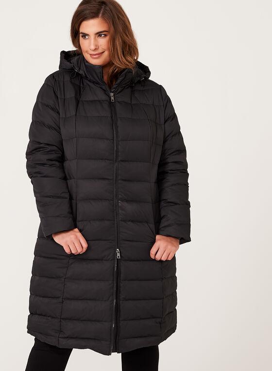 Manteau long matelassé en duvet, Noir, hi-res