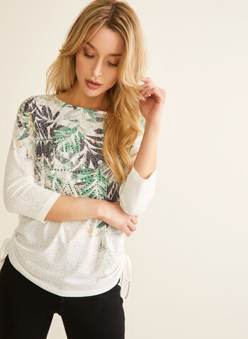 Embellished Leaf Print Tee, Green,  leaf print, top, tee, t-shirt, leaf print top, 3/4 sleeves, spring top, spring 2020, summer 2020