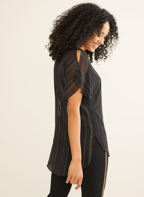 Striped Chiffon Tunic Blouse, Black