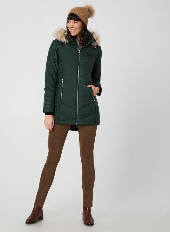 Manteau matelassé à fausse fourrure, Vert, hi-res