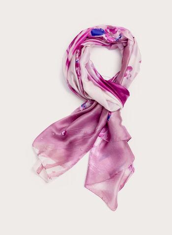 Floral Print Scarf , Purple, hi-res
