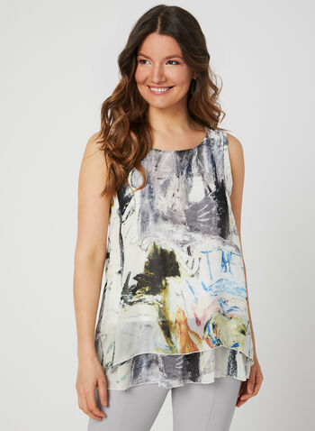 Charlie B - Abstract Print Sleeveless Top, White, hi-res