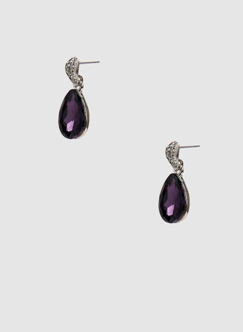 Facetted Teardrop Earrings, Purple, hi-res,  purple jewellery, purple earrings