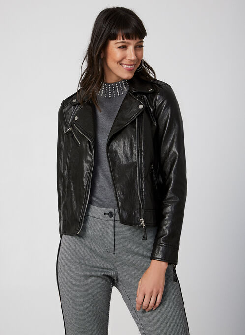 Faux Leather Moto Jacket, Black