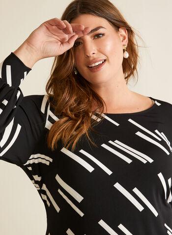 Tunique à motif géométrique, Noir,  automne hiver 2020, tunique, haut, blouse, manches 3/4, manches bouffantes, motif, géométrique, contrastant, fait au Canada