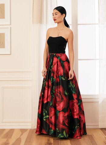 Strapless Floral Ball Gown, Black,  prom dress, ball gown, floral, strapless, jersey, satin, sweetheart, pockets, crinoline, spring summer 2021