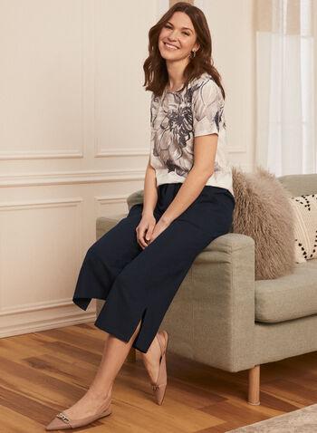 Wide Leg Capri Pants, Blue,  spring summer 2021, pants, capri, capris, belt, tie detail, knot, knotted, slits, short, linen, belt, front pockets