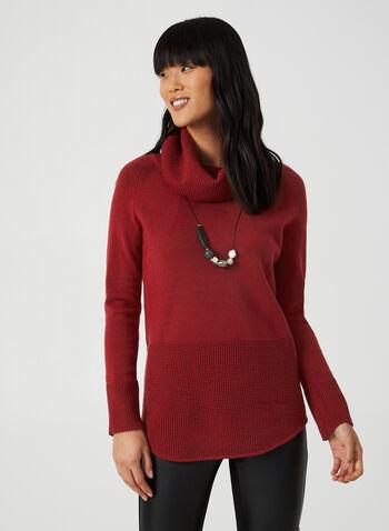 Pull à col bénitier et tricot texturé, Rouge, hi-res,  pull, col bénitier, manches longues, tricot texturé, modal, automne hiver 2019