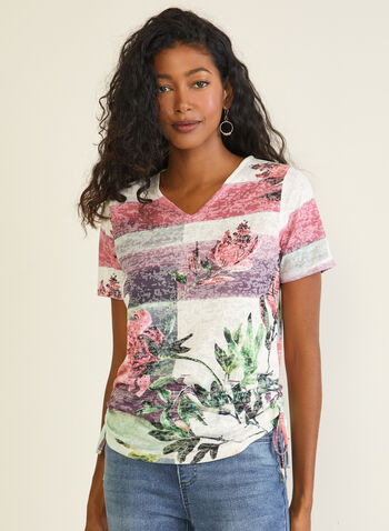 T-shirt à fleurs et rayures, Violet,  t-shirt, fleurs, rayures, col v, strass, automne hiver 2020