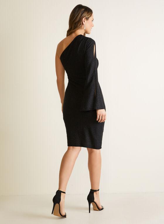 One-Sleeve Cocktail Dress, Black