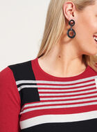 ¾ Sleeve Stripe Print Knit Sweater, Red, hi-res