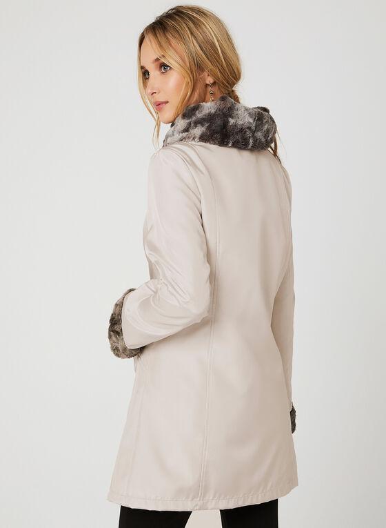 Manteau de pluie réversible avec fausse fourrure, Blanc cassé