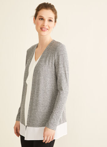 Long Sleeve Open Front Top, Grey,  canada, open front, top, cardigan, knit top, knit cardigan, long sleeves, crepe, rib knit, spring 2020, summer 2020, cover up
