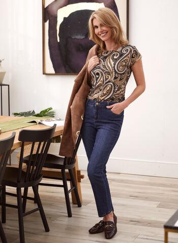 Paisley Print Short Sleeve Top, Black,  top, paisley, short sleeves, fall winter 2020