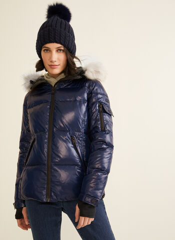 Novelti - Faux Fur Trim Down Coat, Blue,  coat, quilted, down, feather, faux fur, hood, water repellent, fall winter 2019