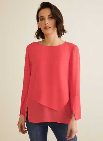 Double Layer Blouse, Red,  blouse, lightweight, long sleeves, double layer, slits, spring top, spring 2020, summer 2020
