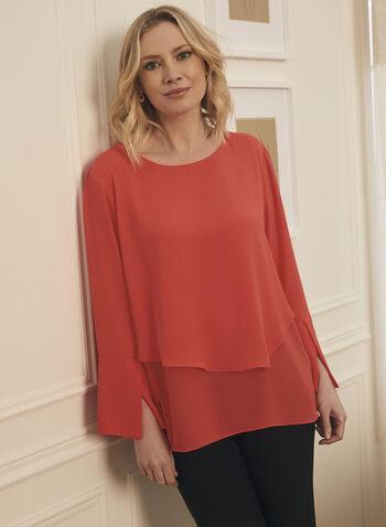 Blouse en mousseline étagée, Rouge,  printemps été 2020, blouse, mousseline, étagé, manches longues, fait au Canada