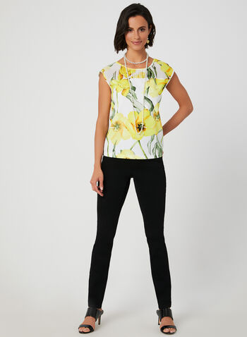 Floral Print Sleeveless Top, White, hi-res,  scuba, sleeveless, chiffon, made in Canada, fall winter 2019